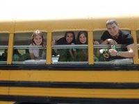 Peeking on the yellow bus