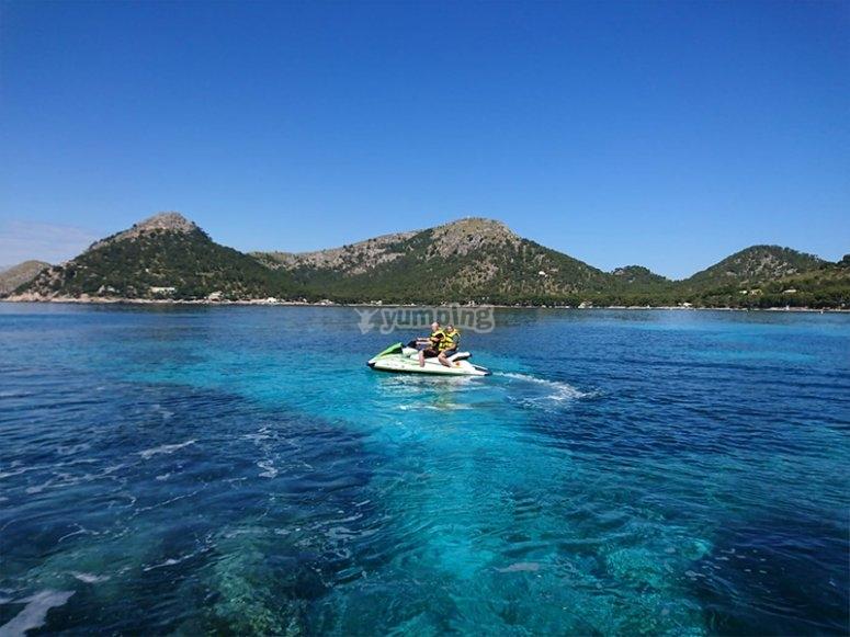 Paseo en moto de agua por Alcudia para parejas