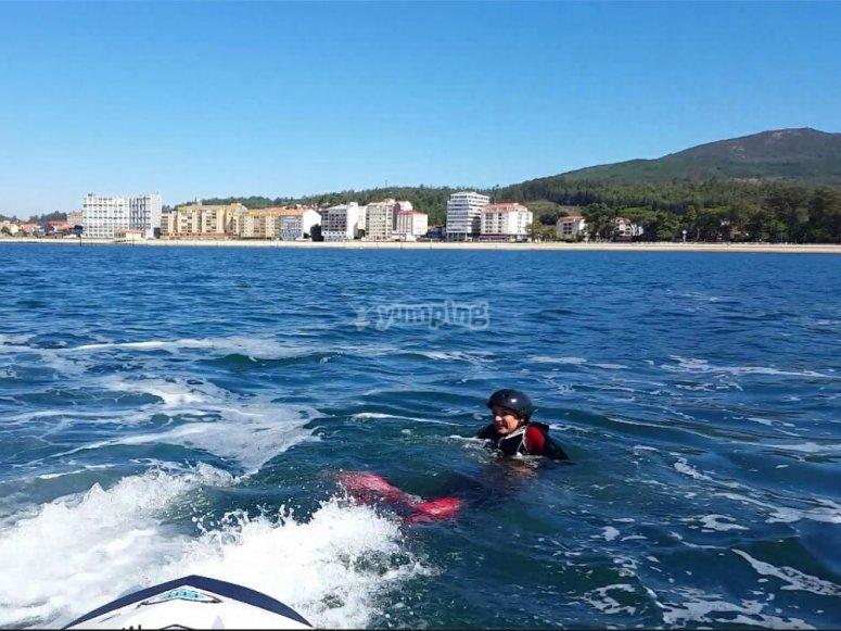 En el agua durante la sesion