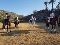 Amigos durante la ruta a caballo