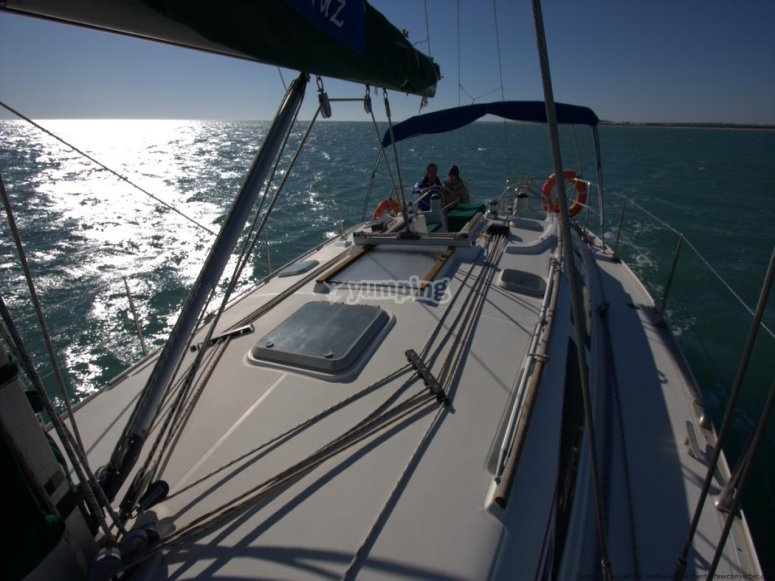 View of the sailing boat