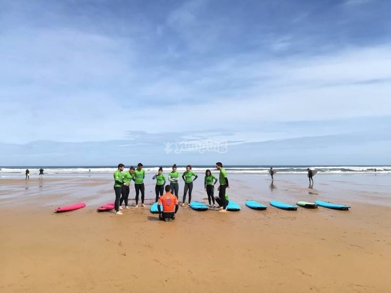 Preparando la clase de surf