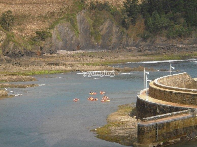 Vista de los kayaks