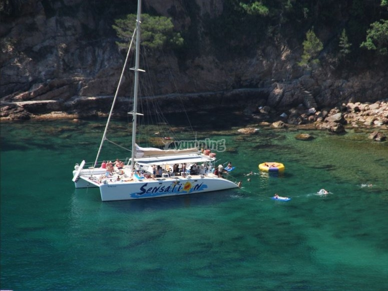 Crystal-clear water and the boat