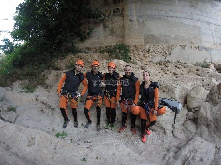 Barranquistas en Gorgo de la Escalera
