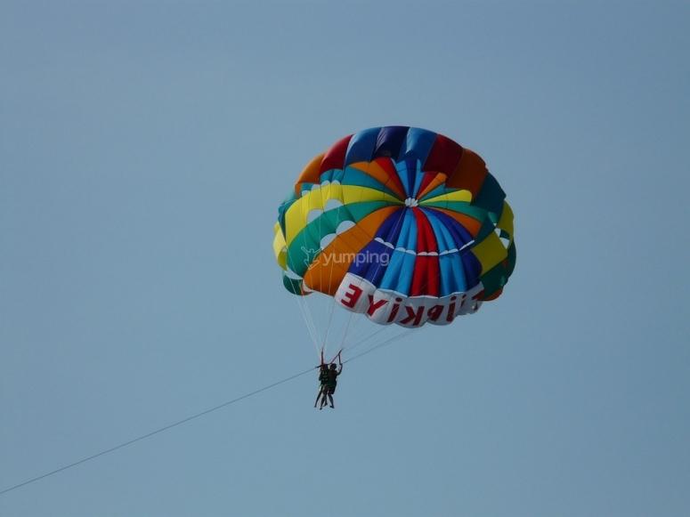 Double coloured parachute