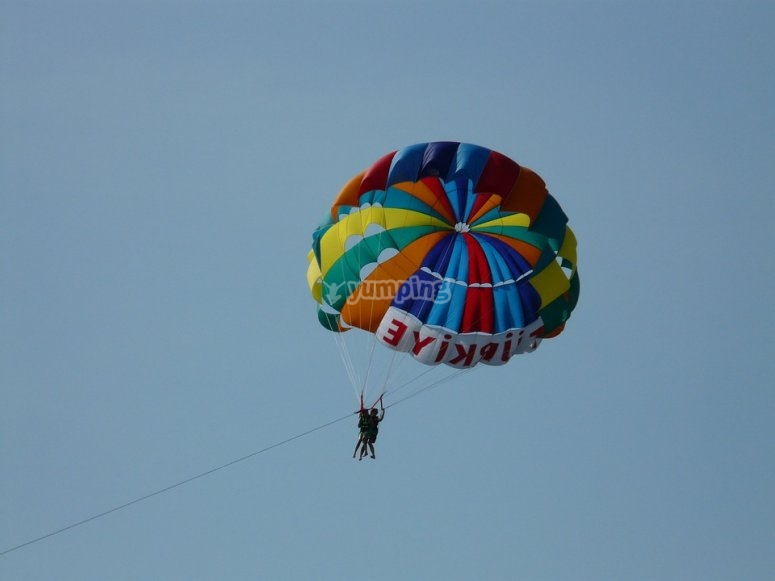 Double coloured parachute
