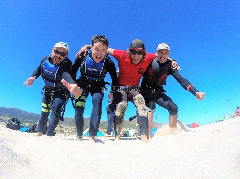 带有风筝冲浪的自拍照