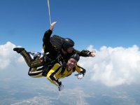 Closing the eyes during the parachute jump