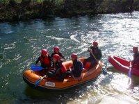 Empezando el tramo de rafting en Salamanca