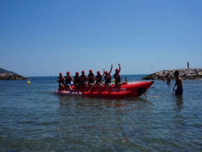 Banana boat riding in Sitges