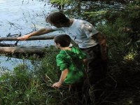 padre enseñando un tronco a un niño