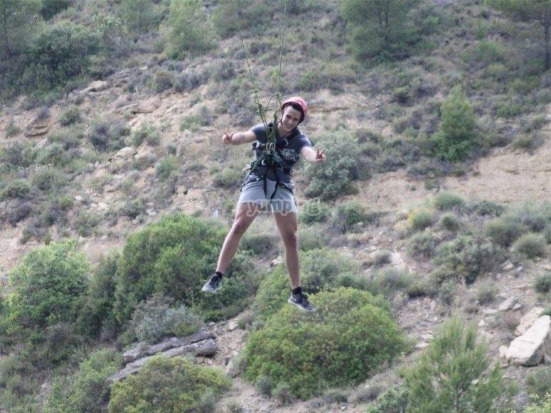 Satisfecho tras el salto