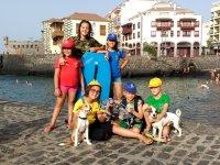 Con los amigos en el puerto