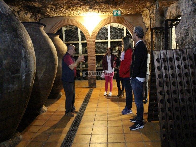 Atendiendo entre las cubas de vino