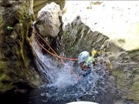 Descent of the waterfall of the ravine