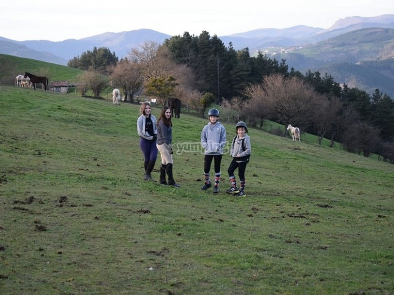 Participants of the horse riding camp of Guipuzcoa
