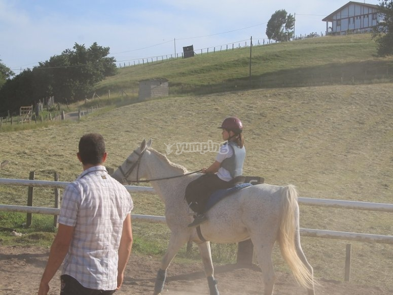 During the horse riding lesson