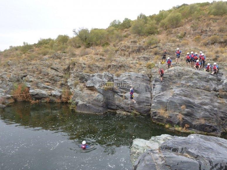Ziplining over water