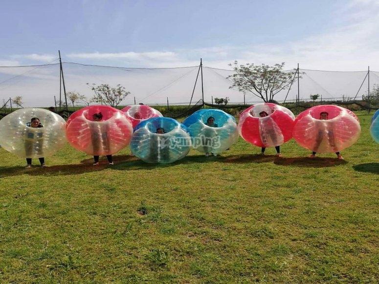 Bubble soccer in open field