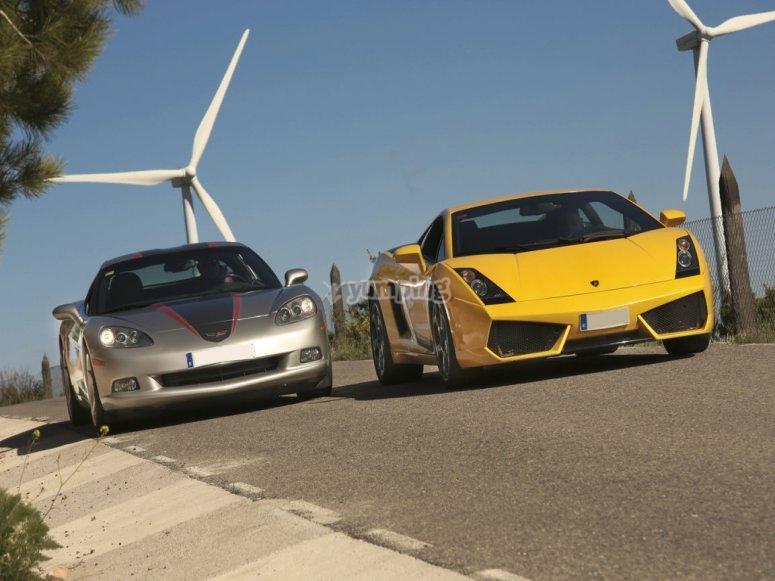 Lamborghini y corvette con molinos de viento