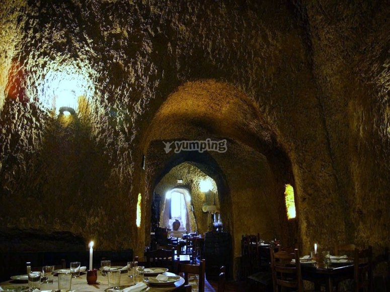 Eating in a cave restaurant