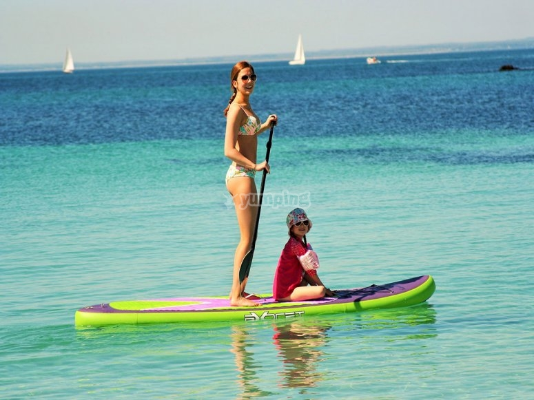 Paddle surf with kids