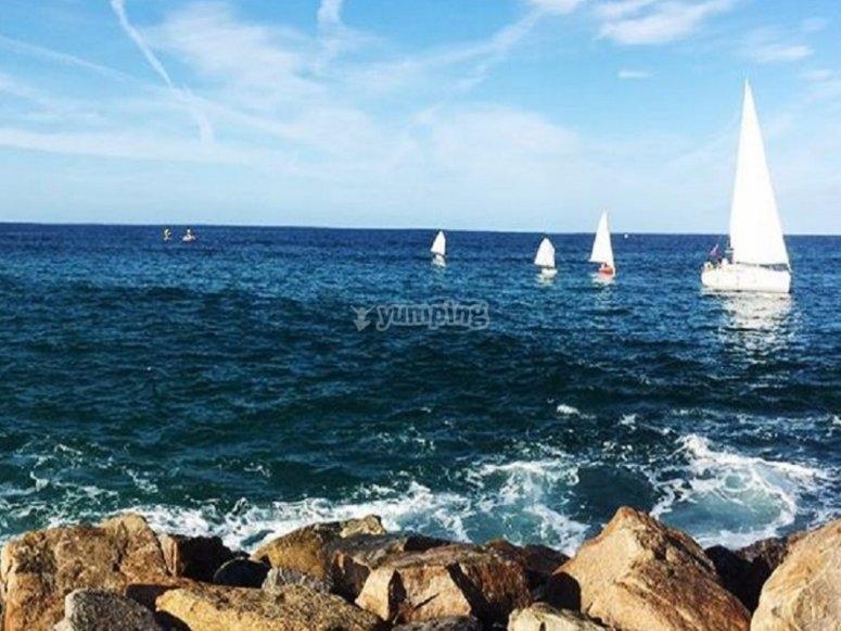 La costa de Foz con los veleros