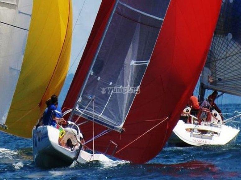 Vela de regata en la costa gallega