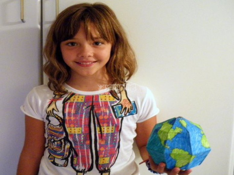 She made a paper terrestrial sphere