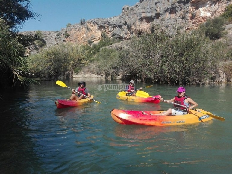 Paddling from the canoes