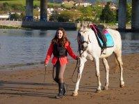 马沿着河边骑