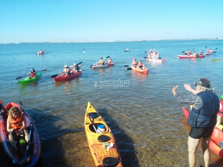 Navegando en kayaks biplaza