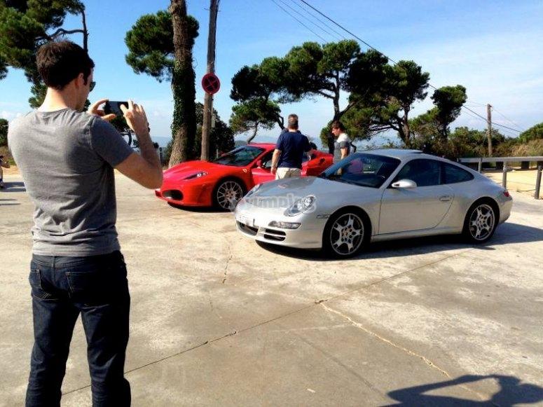 Taking a photo of the Porsche