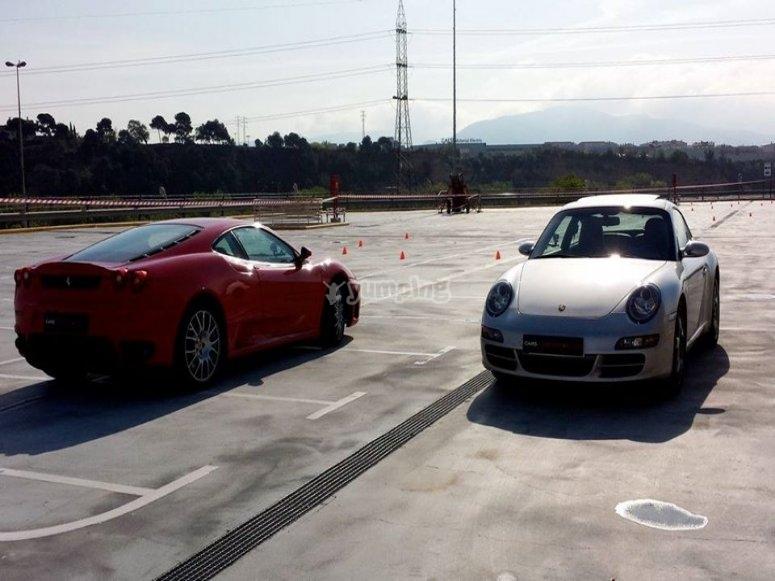 Porsche next to the Ferrari
