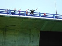 Jumping from the bridge in Galicia
