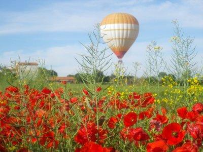 在蒙塞尼,夫妇的气球骑和早餐