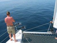 Sobre el extremo del catamaran