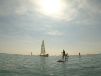 Between sailboats with SUP