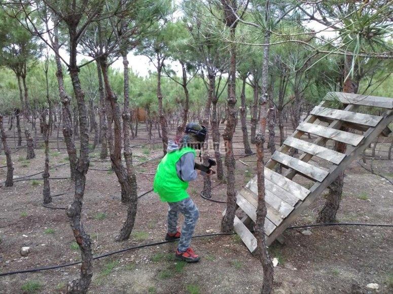 树林里的儿童彩弹