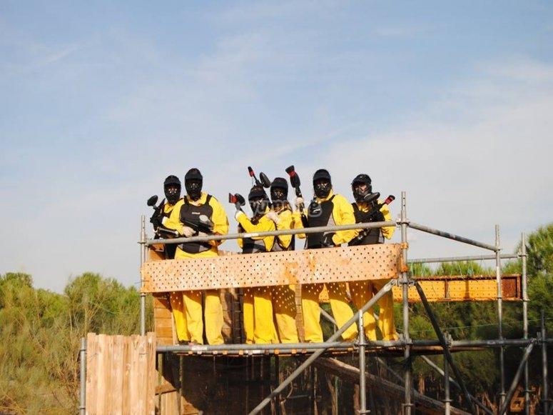 Team on the platform