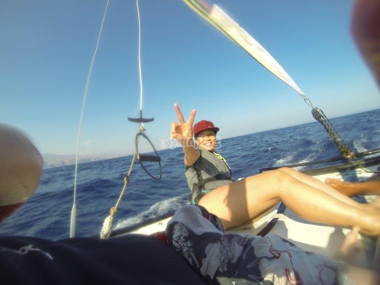 Disfrutando del catamaran
