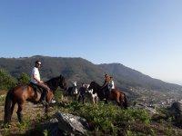 Con amigos en la ruta a caballo