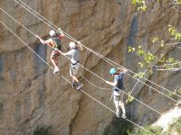 crossing ravine by ropes