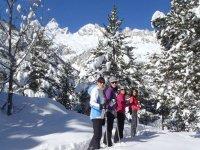 Amigas en en la ruta de nieve