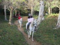 Jóvenes sobre los caballos en ruta