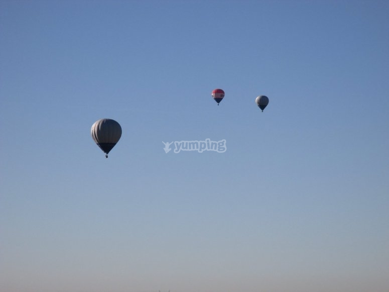 Globos volando en evento