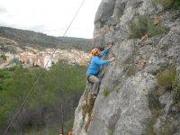 Esforzandose en la escalada