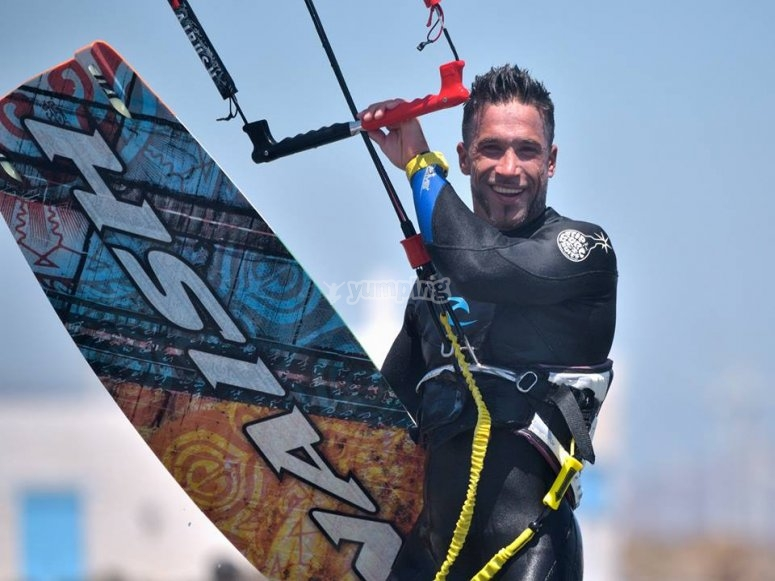 Sesión de kitesurf