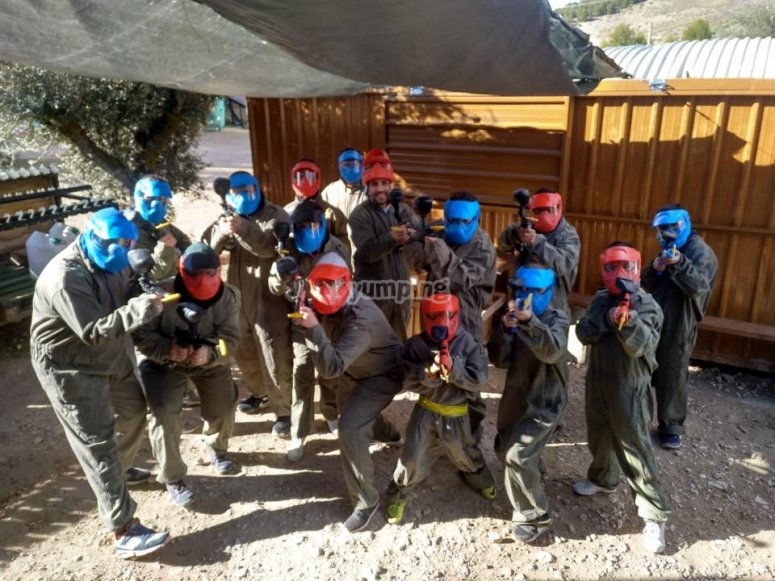 Antes de la partida de paintball